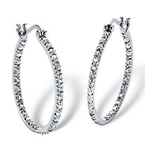 1/4 CT TW Diamond Inside-Out Hoop Pierced Earrings in Sterling Silver