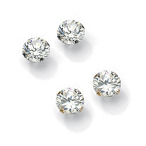 6.00 TCW Round Cubic Zirconia 10k Gold Stud Earrings 2-Pairs Set