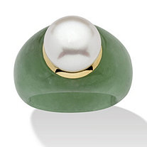 Round Cultured Freshwater Pearl Green Jade 10k Yellow Gold Ring
