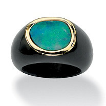Bezel-Set Genuine Blue Opal Cabochon Accent Genuine Black Jade 10k Yellow Gold Ring