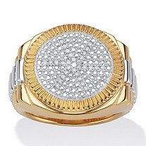 Men's 1/7 TCW Round Diamond Pavé 18k Yellow Gold Over Sterling Silver Two-Tone Ribbed Ring
