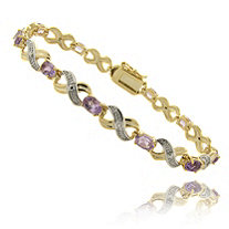 4.50 CT TW Oval-Cut Amethyst and Diamond Accent Figure-Eight Bracelet in Tutone 18k Gold-Plated