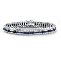 13.76 TCW Midnight Blue Sapphire and Diamond Accent Tennis Bracelet in Sterling Silver