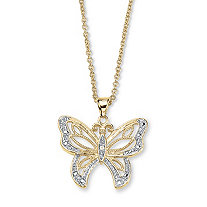 Diamond Accent 18k Gold-Plated Filigree Butterfly Pendant with Cable Chain 18""
