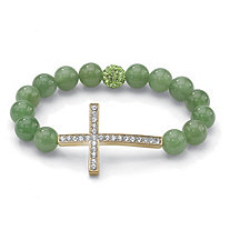 Green Jade and Crystal Horizontal Cross Stretch Bracelet in Yellow Gold Tone 8""