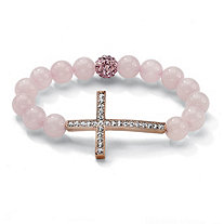 Round Genuine Rose Quartz Crystal Accent Rosetone Horizontal Cross Stretch Bracelet 8