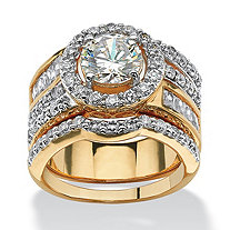 "5.15 TCW Round Cubic Zirconia 18k Gold-Plated ""Circle"" Wedding Ring Set"
