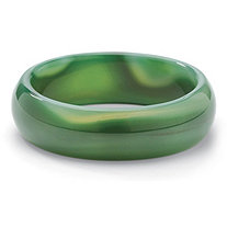 Genuine Green Jade Bangle Bracelet 8 1/2""
