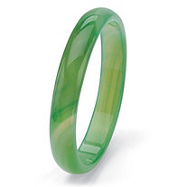 Genuine Green Jade Bangle Bracelet 9""