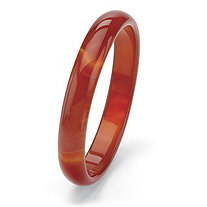 Genuine Red Agate Bangle Bracelet 9""