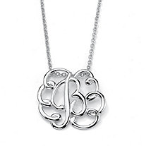 Sterling Silver Personalized Swirl Pendant and Chain 18""