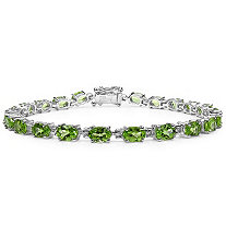 9.90 CTW Oval-Cut Peridot Tennis Bracelet in Sterling Silver