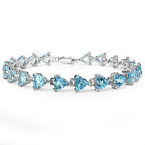 16.80 CTW Trilliant-Cut Blue Topaz Tennis Bracelet in Sterling Silver