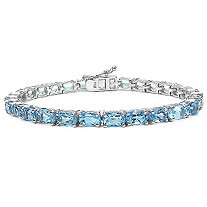 18.85 CTW Oval-Cut Blue Topaz Tennis Bracelet in Sterling Silver
