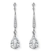 8.39 TCW Pear Cut Cubic Zirconia Silvertone Drop Earrings