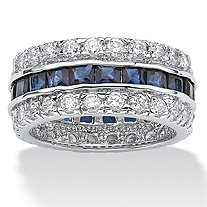 6.66 TCW Princess-Cut Blue Cubic Zirconia White Cubic Zirconia Accent Silvertone Eternity Band