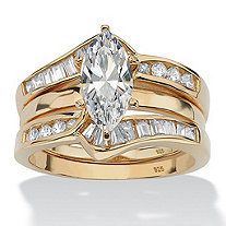 3.56 TCW Marquise-Cut Cubic Zirconia 18k Gold over Sterling Silver Wedding Band Set