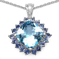 9.61 CT TW Cushion-Cut Blue Topaz And Round Tanzanite Pendant In Sterling Silver