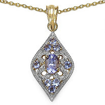 1.51 CT TW Tanzanite And White Topaz Heirloom-Inspired Pendant In Sterling Silver