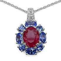 2.50 CT Ruby and 1.22 CT TW Tanzanite and White Topaz Pendant in Sterling Silver