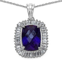 9.87 CT TW Amethyst and White Topaz Pendant in Sterling Silver