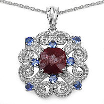 3.60 CT Ruby and .80 CT Tanzanite Pendant in Sterling Silver