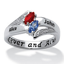 Sterling Silver Couple's Marquise Birthstone and Name Ring with Diamond Accent
