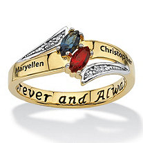 Personalized Marquise-Cut Couple's Name and Birthstone Ring in 18k Gold over Sterling Silver