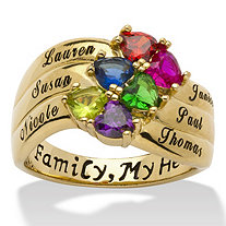 18k Gold over Sterling Silver Heart-Shaped Birthstone and Name Family Ring