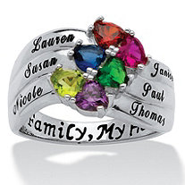 Sterling Silver Birthstone Heart & Name Family Ring