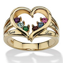 14k Gold-Plated Family Birthstone Heart and Name Ring