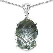 8 CTW Multi-Faceted Green Amethyst Pendant in Sterling Silver