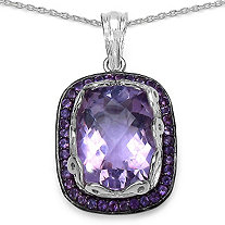 8.64 CT TW Cushion-Cut Amethyst Pendant in Sterling Silver