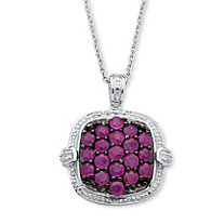 1.90 TCW Ruby Cluster Pendant Necklace