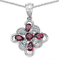 1.50 CT TW Blue Topaz and Rhodolite Garnets Pendant in Sterling Silver