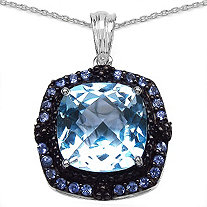13.47 CT TW Cushion-Cut Blue Topaz And Tanzanite Pendant In Sterling Silver