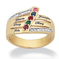 14k Gold-Plated Family Name and Birthstone Ring with Cubic Zirconia Accent