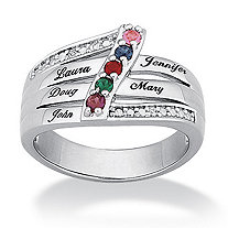 Platinum-Plated Family Name & Birthstone Ring with DiamonUltra™ Cubic Zirconia Accent