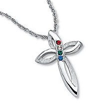Platinum-Plated Family Birthstone Cross Pendant