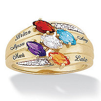 14k Gold-Plated Marquise Birthstone and Name Family Ring with Diamond Accent
