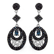 .60 CT TW Oval-cut London Blue Topaz Geometric Drop Pierced Earrings With Black Spinel in Sterling Silver