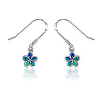 Blue Lab-Created Opal Flower Drop Pierced Earrings In Sterling Silver