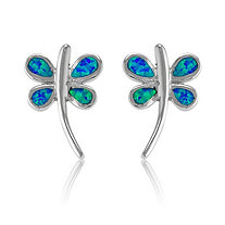 Blue Lab-Created Opal Dragonfly Stud Pierced Earrings In Sterling Silver
