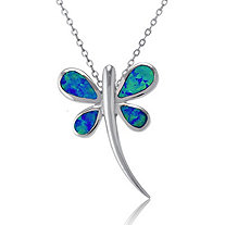 Blue Lab-Created Opal Dragonfly Pendant and Chain In Sterling Silver