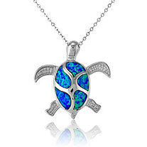 Blue Lab-Created Opal Turtle Pendant and Chain In Sterling Silver