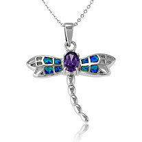 1.30 CT Purple DiamonUltra and trade; Cubic Zirconia and Blue Lab-Created Opal Dragonfly Pendant