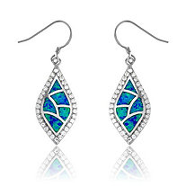 Blue Lab-Created Opal Drop Pierced Earrings In Sterling Silver
