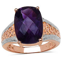 5.75 CT TW Amethyst Ring In 14K Rose Gold over Sterling Silver