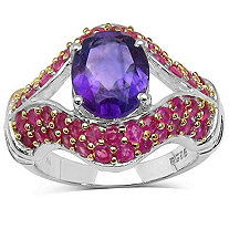 2.50 CT Amethyst and 2 TCW Ruby Ring In Tutone Sterling Silver