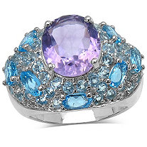 10 CTW Amethyst, Blue Topaz and White Topaz Ring in Sterling Silver